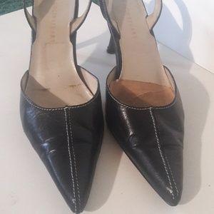 "Vintage Black Leather 3""h Slingbacks 6m"